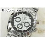 JH Collection 自動巻マルチ腕時計 銀黒 メンズ JH7110WBK