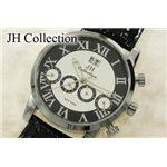 JH Collection 自動巻腕時計 メンズ 白x黒革 JJH1003WBK