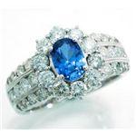 【大人気!】 鑑別書付♪ 天然ダイヤモンド1.50ct ★ ブルーサファイア0.97ct リング♪ WSRA5  K18WG