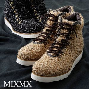 MXMX(ミックスミックス)ツイード調 マウンテンカジュアルブーツ ブラック 42(26.0cm)