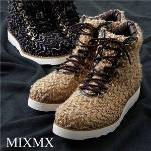 MXMX(ミックスミックス)ツイード調 マウンテンカジュアルブーツ ブラック 44(27.0cm)