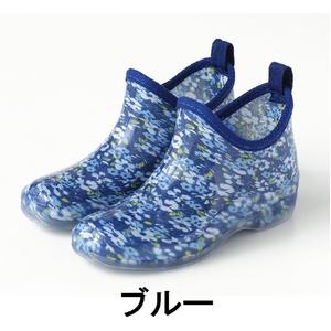 完全防水クリアブーツ Mサイズ 花柄ブルー