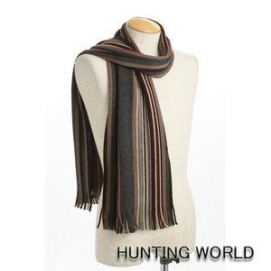 HUNTING WORLD(ハンティングワールド)/ウールストライプマフラー/224916(グレー系)