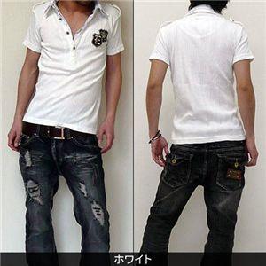 2枚襟フェイクポロシャツ  J7493 ホワイト L