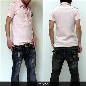 2枚襟フェイクポロシャツ  J7493 ピンク M