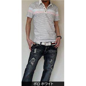 【ファッションの幅を広げる一品】夏スタイルボーダー ポロホワイト M