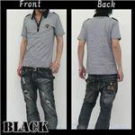 ボーダーシャツ J7489 ブラック M