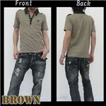 ボーダーシャツ J7489 ブラウン M