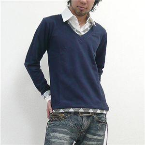 フェイクレイヤードシャツVネック(83061) ネイビー Lサイズ