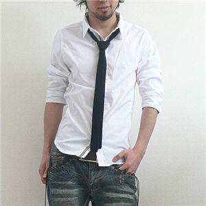 七分袖ネクタイつき前たてシャツ(GRN09-218) ブラック×ナチュラル Mサイズ