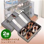 竹炭収納スライド式シューズケース 2個セット