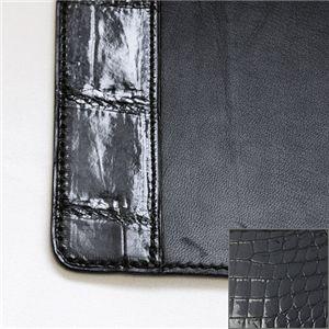 【クロコダイル革】デスクマット:グレージング(黒)