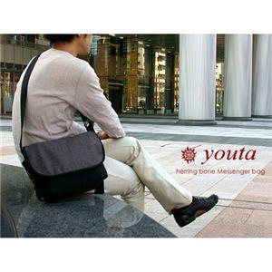 youta(ヨータ) フェイクスエード&ヘリンボーン メッセンジャーバッグM Y-0017/ヘリンボーングレイ