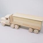 [木 おもちゃ] 白木のトレーラー