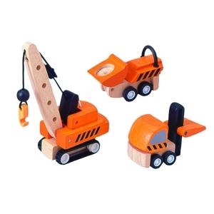 ★PLAN TOYSの木製玩具(木のおもちゃ)★6087★ 建設車セット