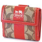 COACH(コーチ) ヘリテージストライプミニ財布カーキ/レッド