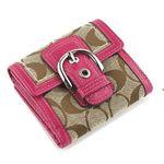 ピンクの【COACHコーチ】 ソーホーシグネチャー<br>バイフォールド ミニ 2つ折り財布 41281
