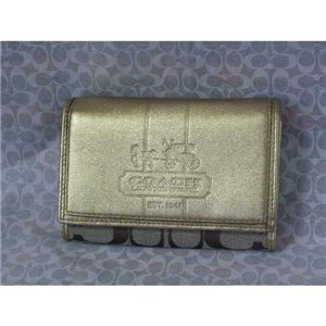 COACH(コーチ) ブリーカー シグネチャー コンパクト クラッチ財布 カーキ/ゴールド 41535