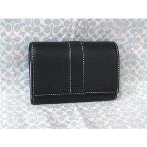 COACH(コーチ) ハンプトンズ レザー コンパクト クラッチ財布 ブラック 41792