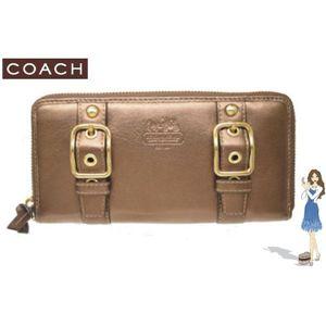 コーチ 財布 新品 COACH(コーチ) ゾーイ レザー アコーディオン ジップ アラウンド長財布 アンティークゴールド 41862-B4AD