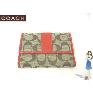 COACH(コーチ) シグネチャーコンパクトクラッチ3つ折り財布 オレンジ