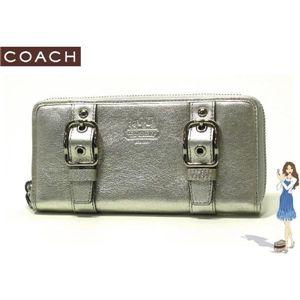 COACH(コーチ) ゾーイ レザー アコーディオン ジップ アラウンド長財布 シルバー 41862