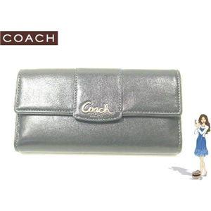 COACH(コーチ) ペネロピ レザー チェックブック 3つ折り長財布 ブラック 42221