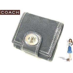 COACH(コーチ) ハンプトンズ シグネチャー ターンロック フレンチ 財布 ブラック 42428