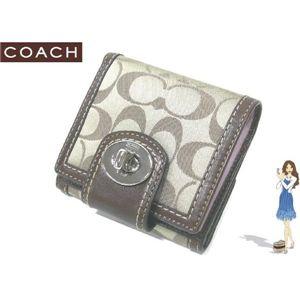 COACH(コーチ) ハンプトンズ シグネチャー ターンロック フレンチ 財布 カーキ 42428