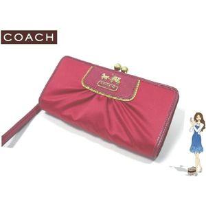 COACH(コーチ) アマンダ サテン フレームド クラッチ 2つ折り財布 マジェンダ 42033
