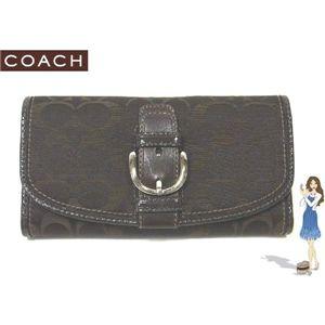 コーチ 財布 新品 COACH(コーチ) ソーホー シグネチャー チェックブック 3つ折り長財布 ブラウン 42060