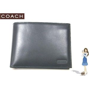 COACH(コーチ) イングリッシュ ブライドル パスケース ID ウォレット 2つ折り財布 ブラック S6485