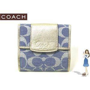 COACH(コーチ) 財布 ペネロピ シャンタン シグネチャー フレンチ パース ブルー 42213