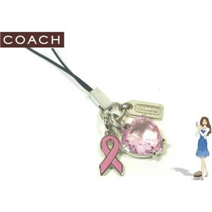 COACH(コーチ) ストラップ ピンクリボン ブレスト キャンサー アウェアネス ハート ランヤード 92368