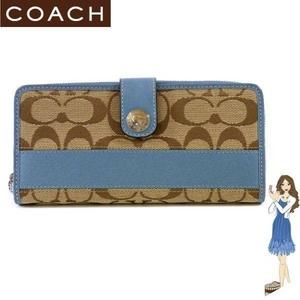 COACH(コーチ) 長財布 シグネチャー ストライプ アコーディオン ジップ アラウンド ブルー 42628