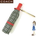 COACH(コーチ) 折りたたみ傘 シグネチャー バックル アンブレラ 60494 ブラック/レッド