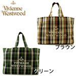 ViVienne Westwood(ヴィヴィアン ウエストウッド) タータンチェック キャンバス トートバッグ グリーン
