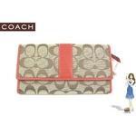 Coach(コーチ) 3つ折り長財布 シグネチャー チェックブック オレンジ 41878