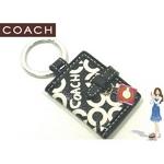 Coach(コーチ) キーホルダー オプ アート プリント ピクチャー フレーム キーフォブ ブラック 92438