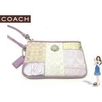 Coach(コーチ) バッグ シグネチャー ストライプ パッチワーク リストレット ピンク 42478