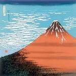■日本製高級風呂敷■丹後ちりめん浮世絵風呂敷[二巾]■赤富士■