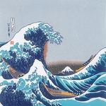 ■日本製高級風呂敷■丹後ちりめん浮世絵風呂敷[二巾]■北斎浪■