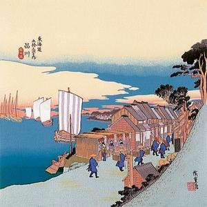 ■日本製高級風呂敷■丹後ちりめん浮世絵風呂敷[二巾]■品川■