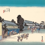 ■日本製高級風呂敷■丹後ちりめん浮世絵風呂敷[二巾]■鳴海■