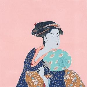 【箱入り】■日本製高級風呂敷■丹後ちりめん浮世絵風呂敷[二巾]■うちわ美人■