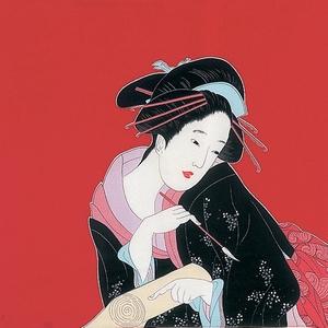 【箱入り】■日本製高級風呂敷■丹後ちりめん浮世絵風呂敷[二巾]■春待ち美人■