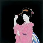 【箱入り】■日本製高級風呂敷■丹後ちりめん浮世絵風呂敷[二巾]■かんざし■