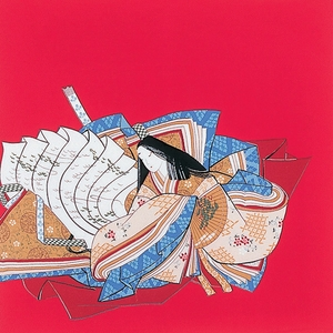 【箱入り】■日本製高級風呂敷■丹後ちりめん浮世絵風呂敷[二巾]■百人一首■