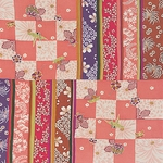 ■日本製高級風呂敷■はいからもだん友仙ふろしき[二巾]■市松寄せ裂(ピンク)■