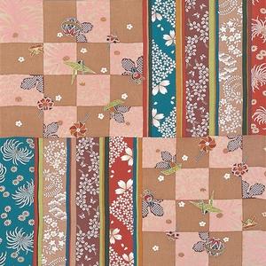 【箱入り】■日本製高級風呂敷■はいからもだん友仙ふろしき[二巾]■市松寄せ裂(茶)■